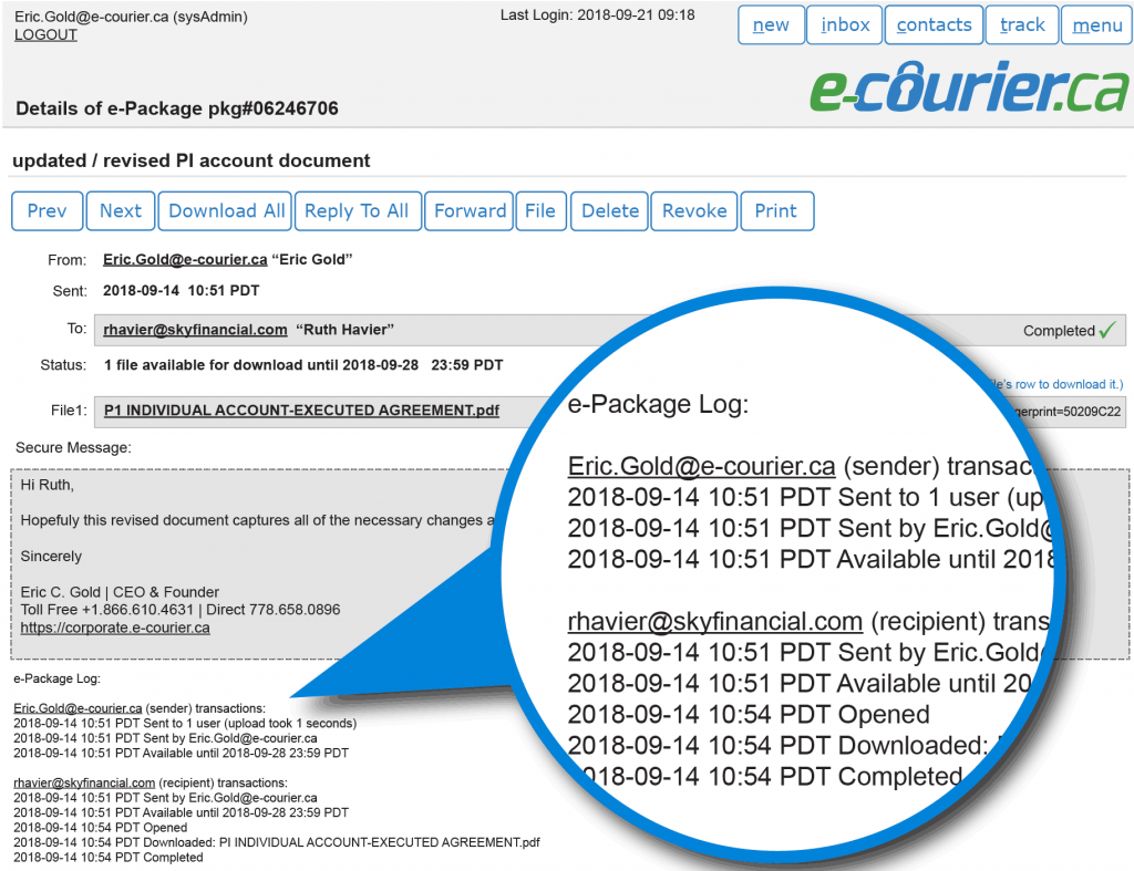 Detailed email delivery status audit log