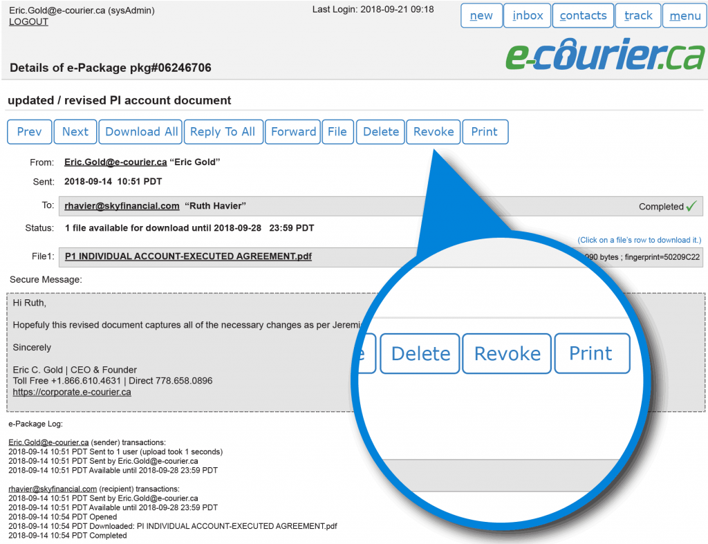 Permanently revoke any email from the e-Courier servers