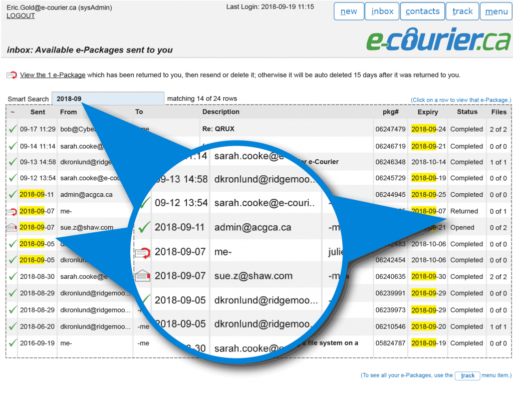 Use the e-Courier smart search to quickly find packages